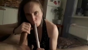 Huge dick hot smoky sloppy hookah blowjob from sexy babe