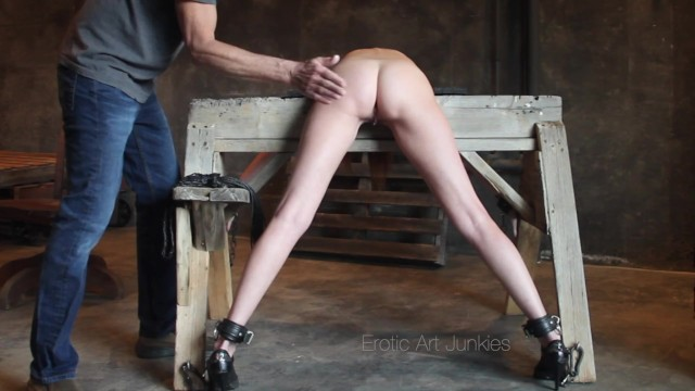 Model photography sex fuck She is bound, spanked and fucked over a sawhorse