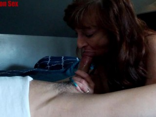 Tiny Dark Haired Milf BJ Swallows Big Load Keeps Sucking
