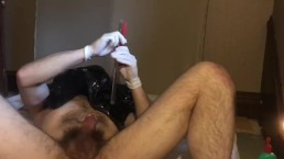 Double ass penetration with gloves breathplay