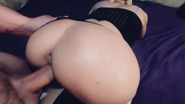 Russian blonde framed for fucking their holes. Creampie in the ass