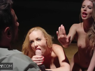 Deeper. Kayden Kross and Jillian Janson Plays Games as he Watches