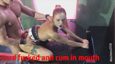 Young amateur babe fucks hard and cums on the table