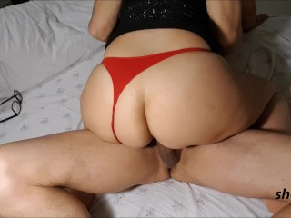 the lucky guy is ridden, but he doesn't let him cum inside and takes it out