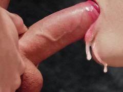 Throbbing & close up oral creampie...(loading her mouth / balls licking)