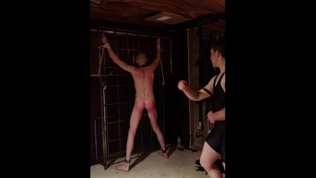 Gay bondage whipping enemas fisting Slave gets a whipping with a single tail, part 2
