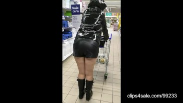Shopping in Hunter wellies and PVC raincoat