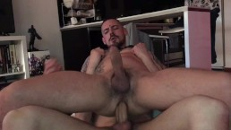 A friend destroying my hairy hole with his big dick