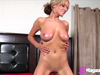 Beautiful Busty Blonde Brittany Oils Up Her Big Natural Tits