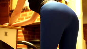 Her ass gets fucked hard and takes huge cum after yoga session
