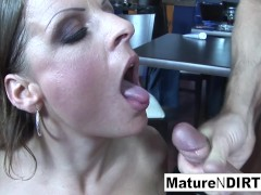 Dirty Towheaded Milf Gets Fucked In A Restaurant
