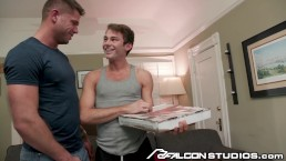 FalconStudios Pizza Delivery Daddy Tyler Roberts Paid in BJ & Rimjob!