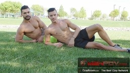 Muscle Hunk Arad WinWin Drills Young Workout Buddys Ass W/ His Monster Cock