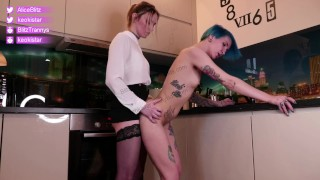 sexy shemale fucks girlfriend in pussy on the kitchen