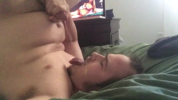 Male Cumslut watches a CEI by Princess Rene & does a Big Self Facial!