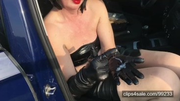 Husband cum on my leather gloves