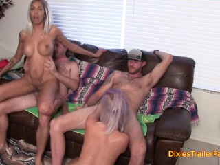Porno Old Young Fucking, Lexxxi and SerenA Go Wild at the Trailer Park Orgy Blowjob Cumshot