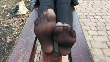 Girl in black stockings, foot fetish