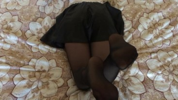 Girl in black stockings, foot fetish part 2