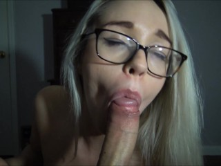 Violet Sucks throbbing cock for huge thick facial