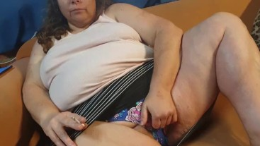 Crazy Horny BBW Mom Smokes and Toys her Pussy