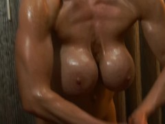 Bodybuilder With Big Fake Tits Oils Up