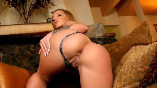 Bootyful Jada Stevens strips in front of a roaring fire and masturbate