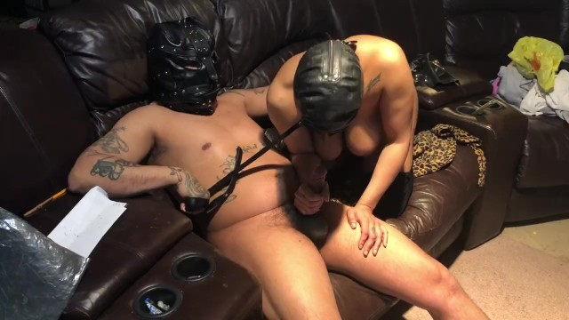 Slave training bdsm Sex slave dildo action restraint sex slave in training bdsm latex mask
