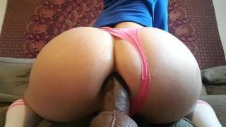 Big booty BBC dildo and vibrator cum