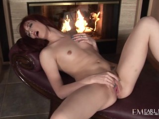 Hot alexandra fingers herself by the fireplace
