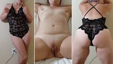 CURVY SEXY MILF IN BLACK LACEY BODYSUIT LINGERIE FUCKS WITH HUGE CUM SHOT