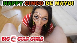 Cinco De Mayo Celebration! Curvy Latina Thick Dick Blowjob Cum Swallow!!