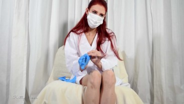 Nurse Kitty humiliating exam for the Doctor - Pee, Gyno, Gloves, Feet, more