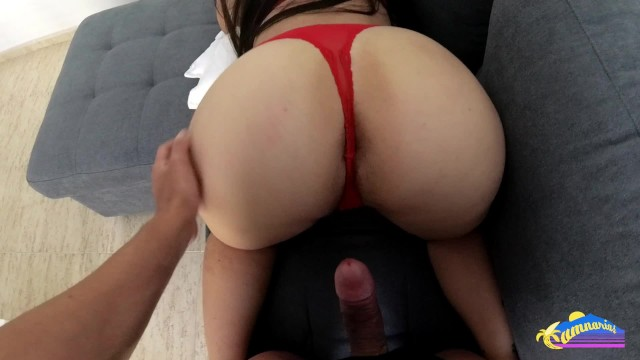 Luxury lingerie red Gf with amazing ass gets fucked in red lingerie