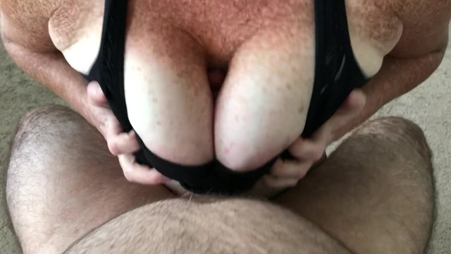 Redheaded woman with freckles - Redhead titfucks in a sports bra until it erupts between her freckled jugs