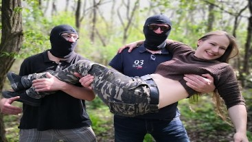 Two Strangers fuck Nadine in the woods - Extreme Hairy Teen Cunt