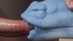 Close Up Bad Dragon Muzzle Fucking and Cumshot on Camera