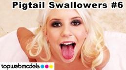 TopWebModels PIGTAILS and CUM SWALLOWING Compilation 5 Hot Blowjobs - VOL 6