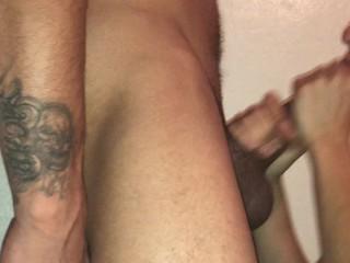 Latina makes HUGE dick extra wet deep throats and swallows cum