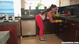 BANGBROS - Hot Latina Maid Marta La Croft Gargles On Her Client's Huge Cock