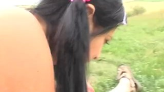 Old lecher Tim Wetman gets a nice blowjob from young silly whore Tera Joy