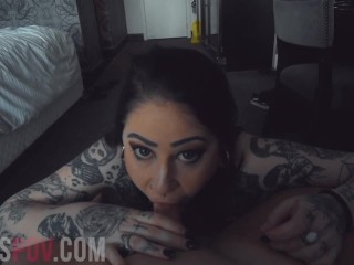 BUSTY TATTOOED PORNSTAR OPHELIA RAIN SUCKS FOR AN ORAL CREAMPIE