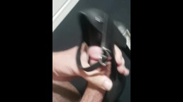 rubbing dick and cum on her high heel sole