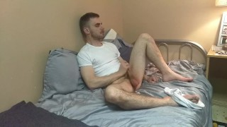 Stroking in White T Shirt and Briefs with Cumshot