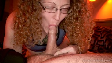 Redhead MILF Ivy sensually sucks cock until her mouth is pumped full of cum
