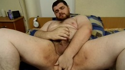 KingMarti Big Hairy Chubby Oiled Bear Stroking His Fat Cock and Cumming BHM