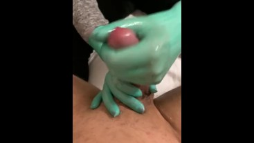 Latex Green Surgical Gloved Handjob.