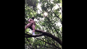 PISSING and WANKING up in the TREE ** damn HOT **