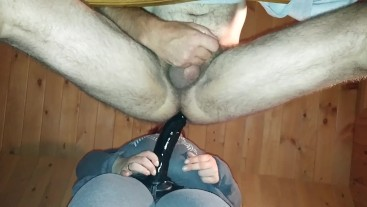 Me being fucked up my ass by my girl very hard by a big dildo