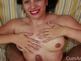 Saggy Tube Tits POV Handjob + Cum on tits